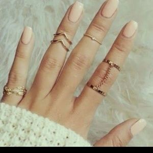 Jewelry - 💖2/$15 sale💖6pc Stacking midi Ring set gold
